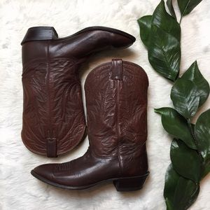 HP✨Nocona Deertan Leather Western Cowboy Boots